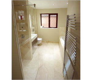 A 'wet' area shower really opens up the space in a bathroom.