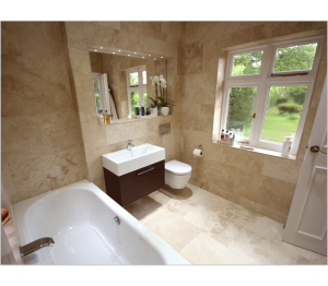 An inset heated mirror adds to the luxury - especially with the independently switched LED accent lighting.
