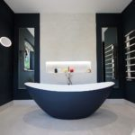 6. The showstopper. The Breeze natural stone freestanding bath from Waters Baths of Ashbourne. Painted Hague Blue from Farrow & Ball.