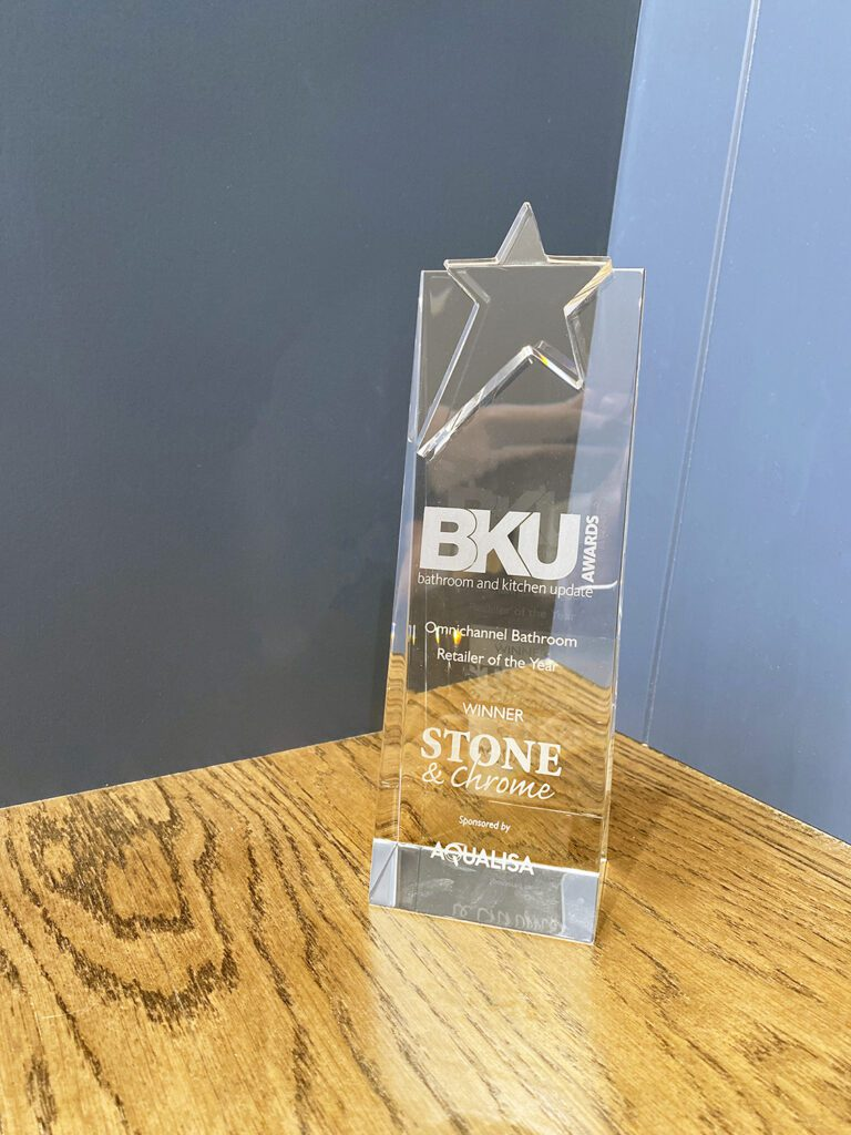 BKU Awards trophy for Omnichannel Bathroom Retailer of the Year
