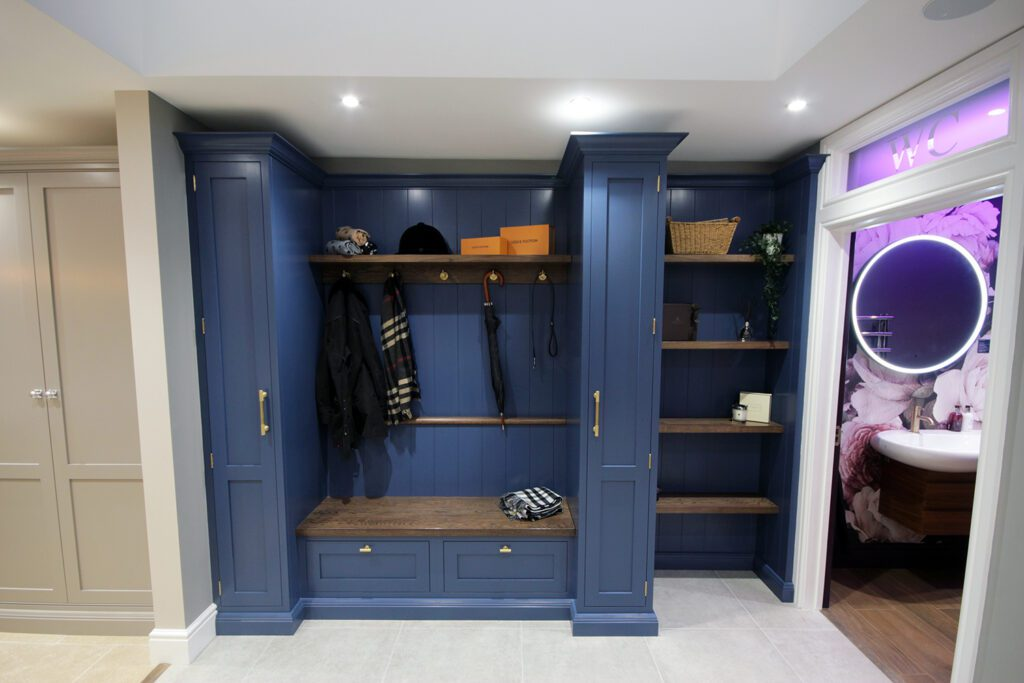A bootroom painted in Stiffkey Blue