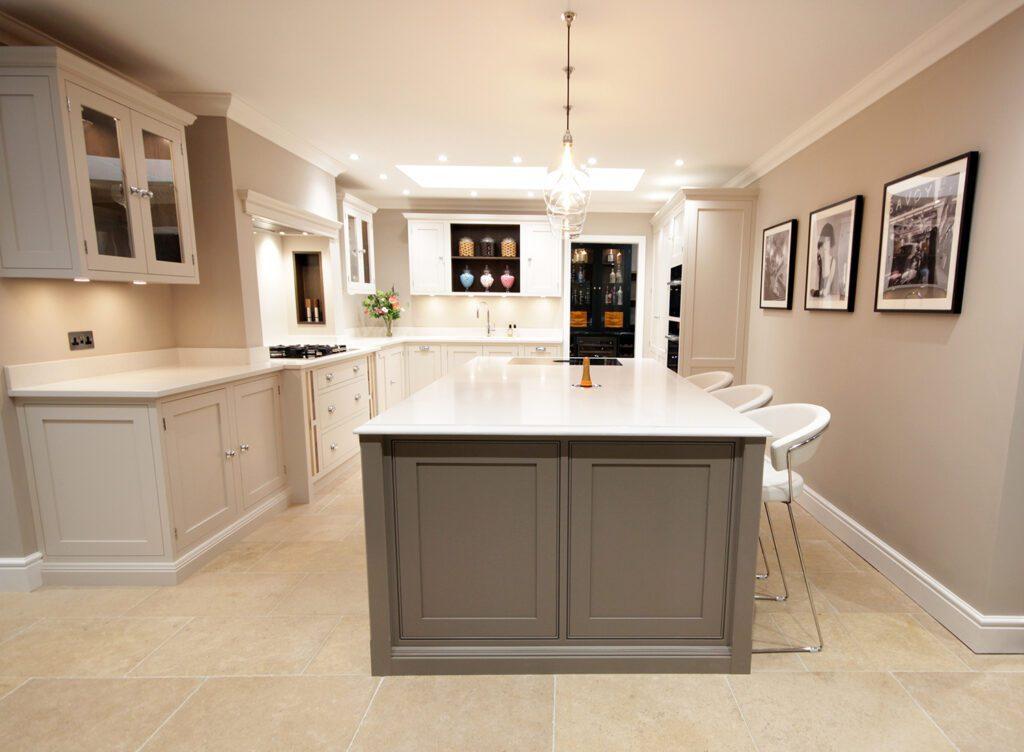 Handmade in-frame shaker kitchen painted in Farrow & Ball Charleston Gray and Skimming Stone.