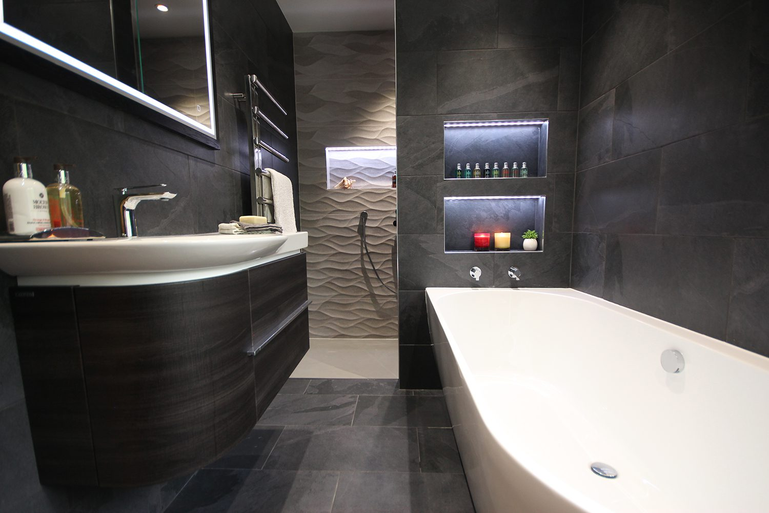 Stone and Chrome monochrome porcelain bathroom