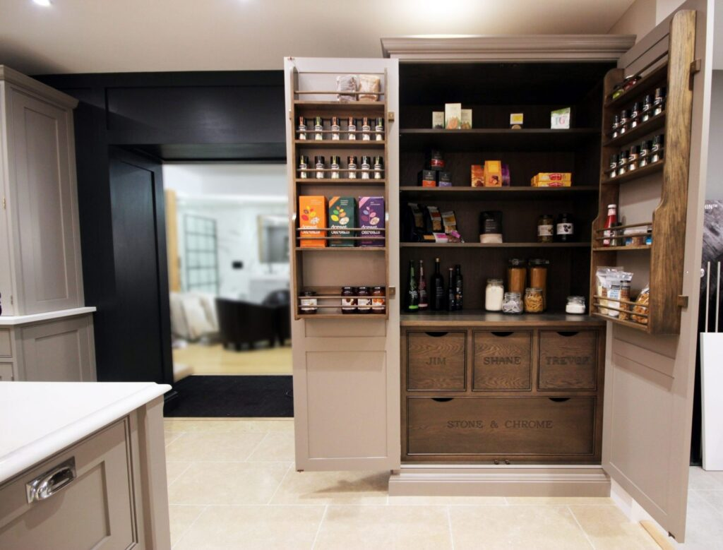 Our ever so popular pantry with smoked oak internals. The drawers can be customised to say anything.