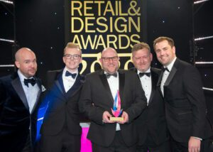 Trevor, Jim & Shane collecting the trophy for new kitchen retailer of the year at the KBB Awards 2020.