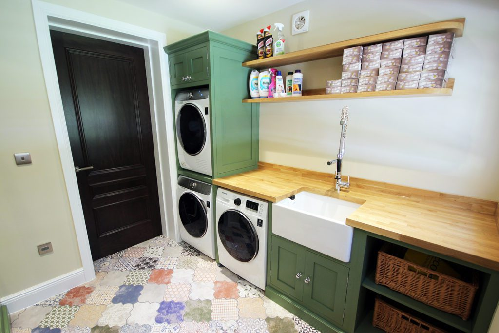 1. Laundry room painted in Farrow & Ball Calke Green