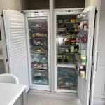 The side by side integrated fridge and freezer from Miele give plenty of storage and the freezer has an ice making function too. Our cabinetry also allows extra storage space above both.