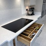 The Miele induction hob is huge at 940mm in width allowing six pans to be placed at one time anywhere on the cooking zone. We always recess the hobs for that seamless look and feel. This hob is also shallow allowing storage immediately beneath.