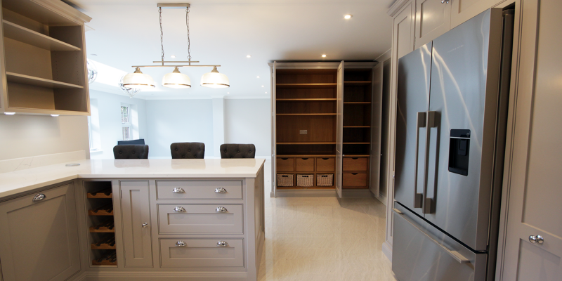 Our kitchens are handmade from solid timber and we can design pantry internals to suit any eventuality.